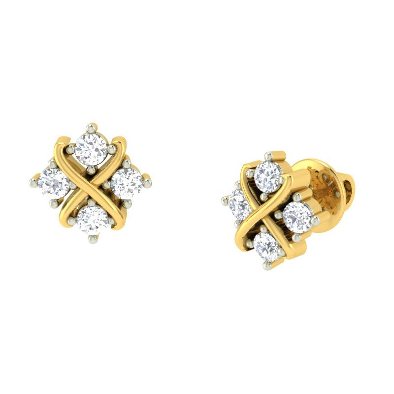 diamond studded gold jewellery - Signy Earring Tops - Pristine Fire - 1