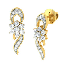 diamond studded gold jewellery - Iris Earring Tops - Pristine Fire - 1