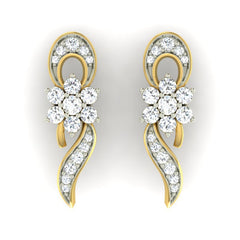 diamond studded gold jewellery - Iris Earring Tops - Pristine Fire - 2
