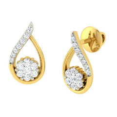 diamond studded gold jewellery - Deborah Earring Tops - Pristine Fire - 1