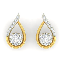 diamond studded gold jewellery - Deborah Earring Tops - Pristine Fire - 2