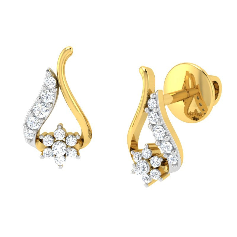 diamond studded gold jewellery - Brianna Earring Tops - Pristine Fire - 1