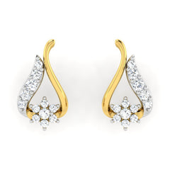 diamond studded gold jewellery - Brianna Earring Tops - Pristine Fire - 2