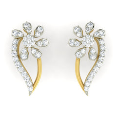 diamond studded gold jewellery - Livie Earring Tops - Pristine Fire - 2