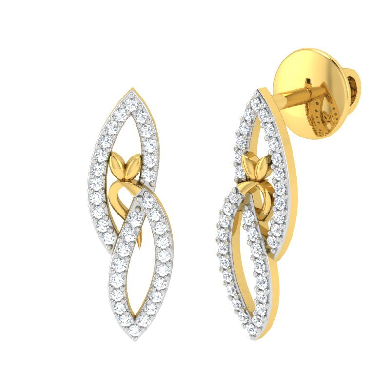 diamond studded gold jewellery - Jocelyne Earring Tops - Pristine Fire - 1