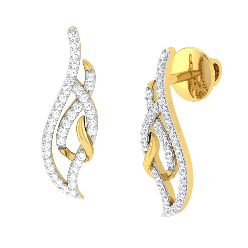 diamond studded gold jewellery - Britt Earring Tops - Pristine Fire - 1