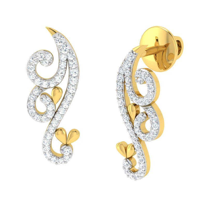 diamond studded gold jewellery - Nyah Earring Tops - Pristine Fire - 1