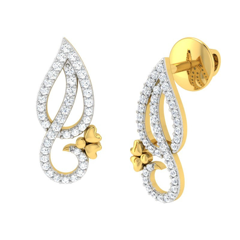 diamond studded gold jewellery - Elisa Earring Tops - Pristine Fire - 1