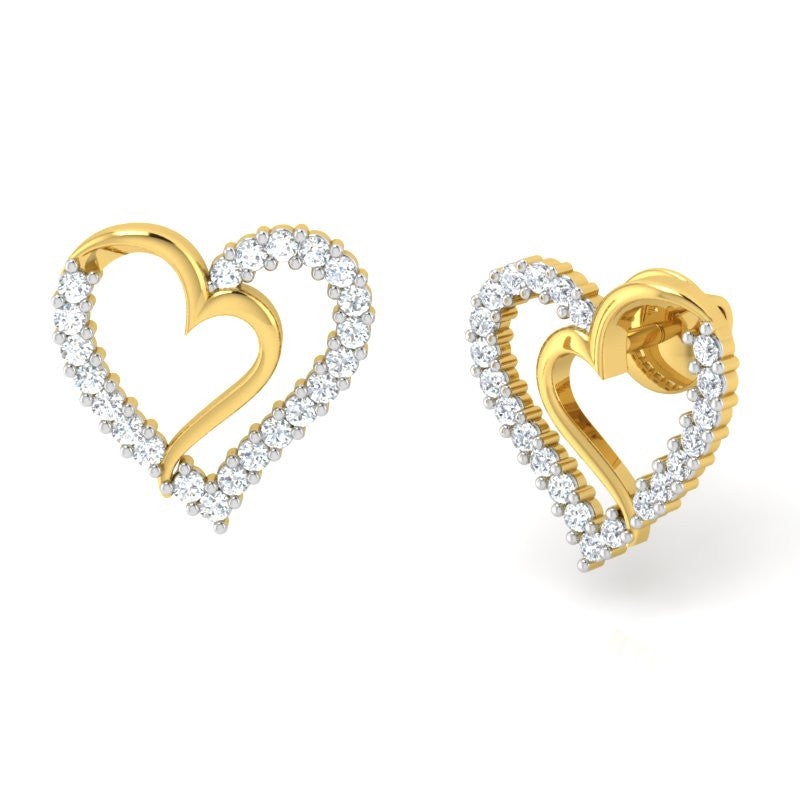 diamond studded gold jewellery - Libi Earring Tops - Pristine Fire - 1