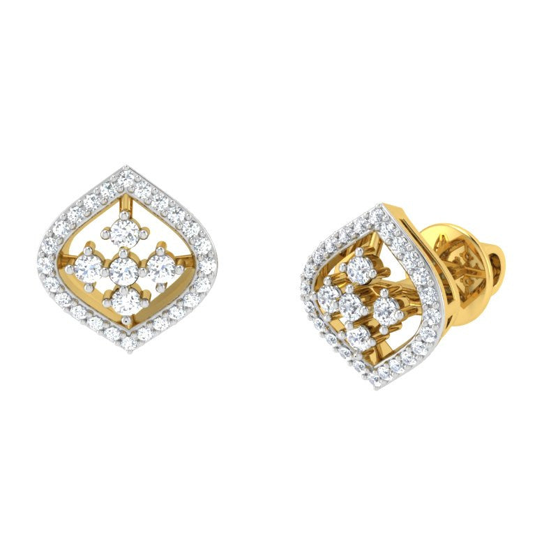 diamond studded gold jewellery - Irma Studs and Tops Earrings - Pristine Fire - 1