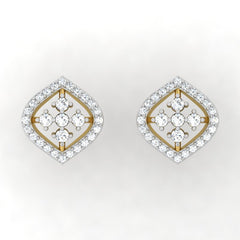 diamond studded gold jewellery - Irma Studs and Tops Earrings - Pristine Fire - 2