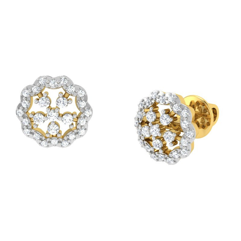 diamond studded gold jewellery - Isha Studs and Tops Earrings - Pristine Fire - 1