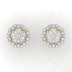 diamond studded gold jewellery - Isha Studs and Tops Earrings - Pristine Fire - 2