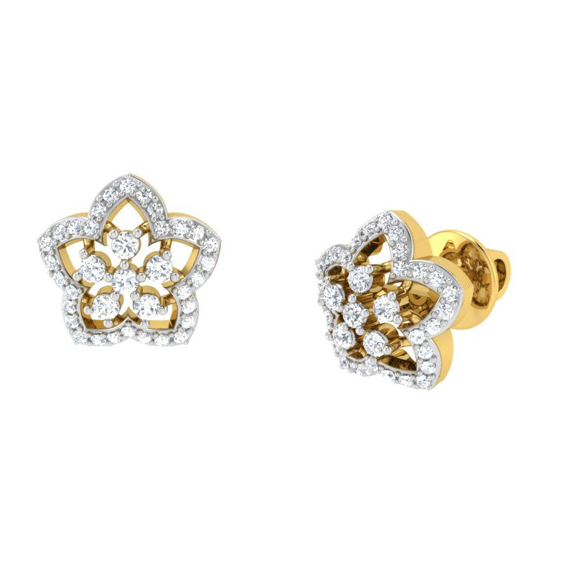diamond studded gold jewellery - Ishi Studs and Tops Earrings - Pristine Fire - 1