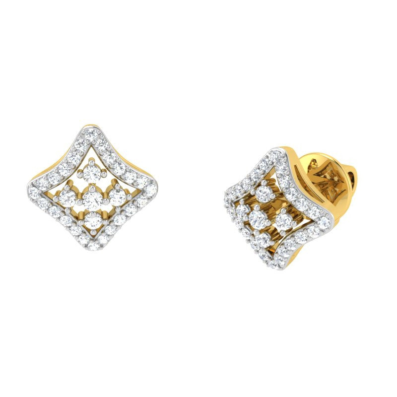 diamond studded gold jewellery - Jade Studs and Tops Earrings - Pristine Fire - 1