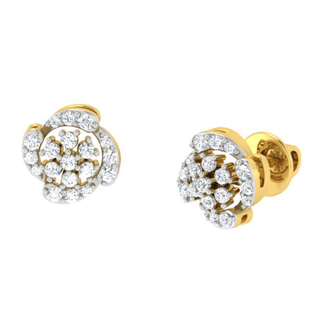 diamond studded gold jewellery - Jana Studs and Tops Earrings - Pristine Fire - 1