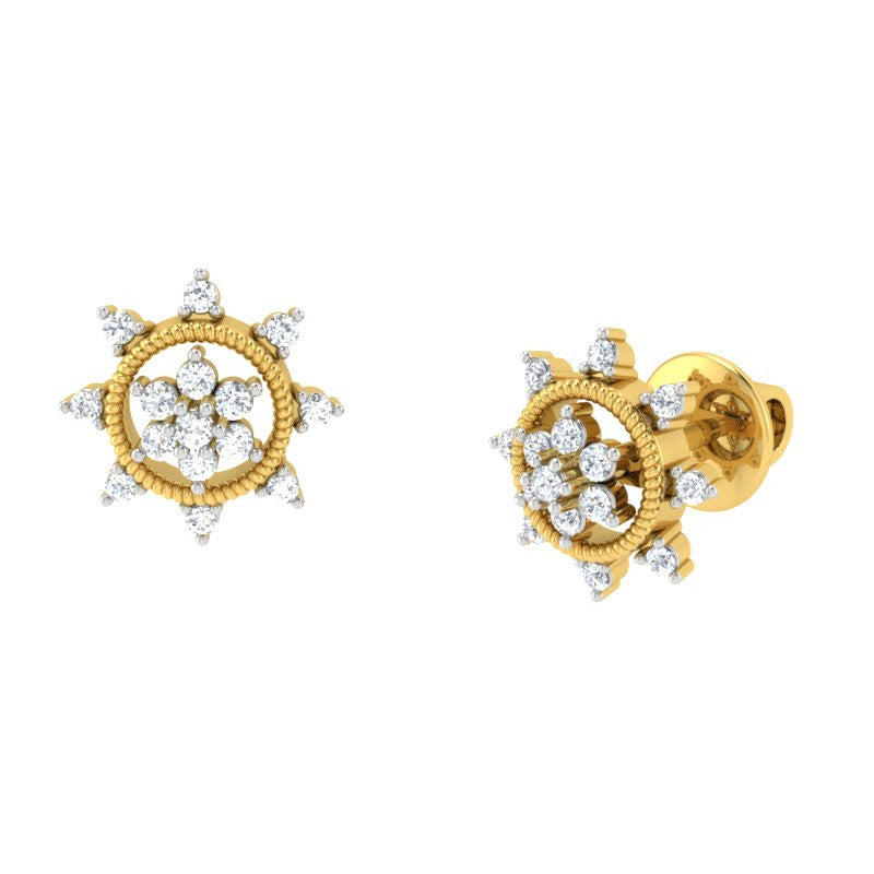diamond studded gold jewellery - Jane Studs and Tops Earrings - Pristine Fire - 1