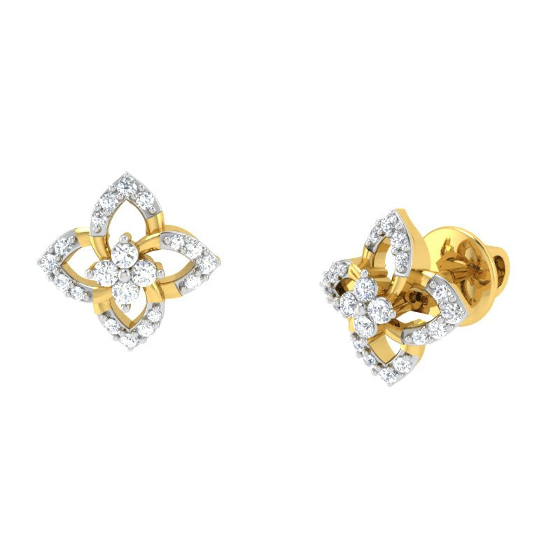 diamond studded gold jewellery - Joya Studs and Tops Earrings - Pristine Fire - 1