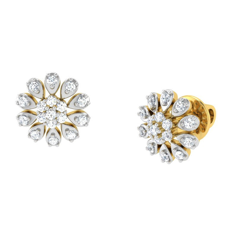 diamond studded gold jewellery - Judy Studs and Tops Earrings - Pristine Fire - 1