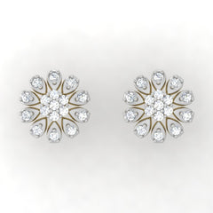 diamond studded gold jewellery - Judy Studs and Tops Earrings - Pristine Fire - 2