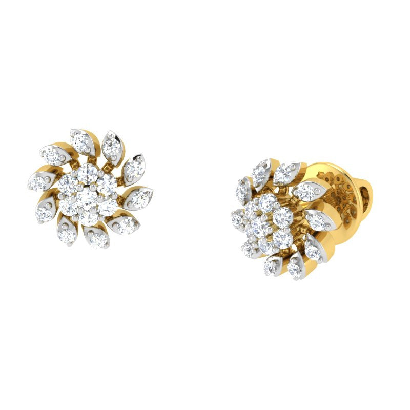 diamond studded gold jewellery - Jula Studs and Tops Earrings - Pristine Fire - 1