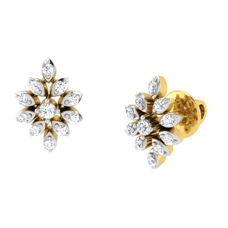 diamond studded gold jewellery - Kacy Studs and Tops Earrings - Pristine Fire - 1
