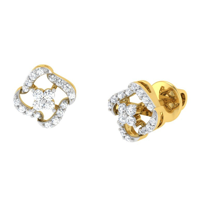diamond studded gold jewellery - Kara Studs and Tops Earrings - Pristine Fire - 1