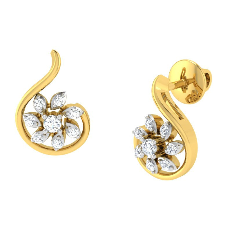 diamond studded gold jewellery - Kiki Studs and Tops Earrings - Pristine Fire - 1