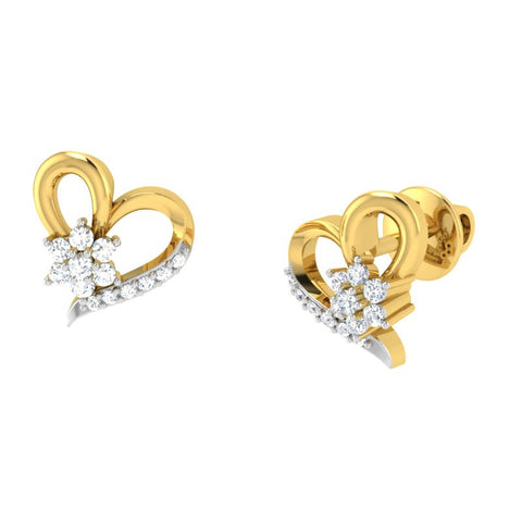 diamond studded gold jewellery - Kimi Studs and Tops Earrings - Pristine Fire - 1