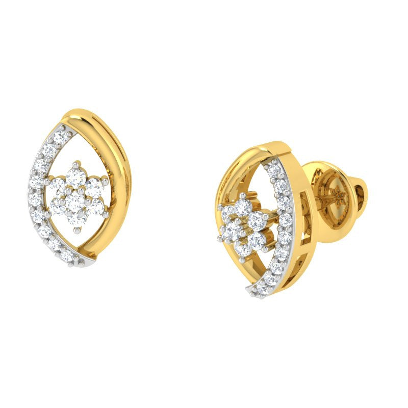 diamond studded gold jewellery - Kira Studs and Tops Earrings - Pristine Fire - 1