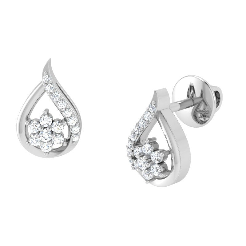 diamond studded gold jewellery - Kumi Studs and Tops Earrings - Pristine Fire - 1