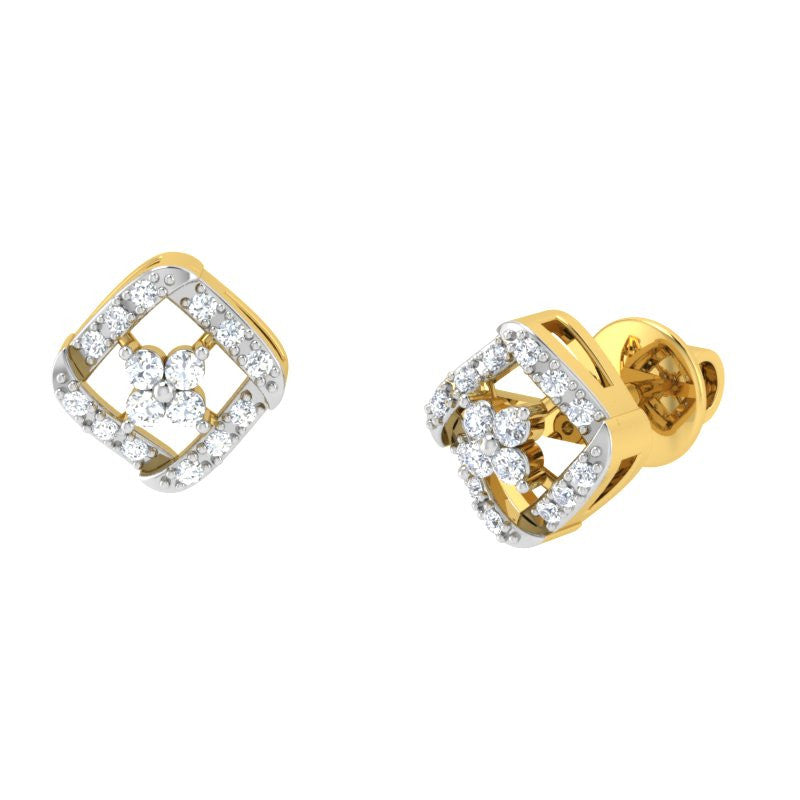 diamond studded gold jewellery - Kyla Studs and Tops Earrings - Pristine Fire - 1