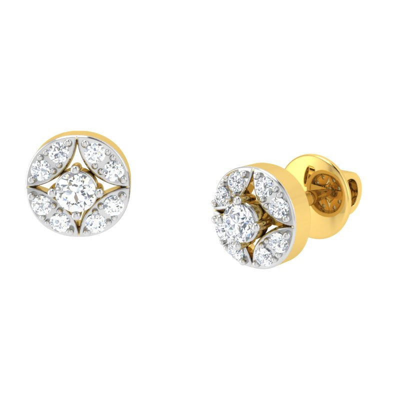 diamond studded gold jewellery - Kyli Studs and Tops Earrings - Pristine Fire - 1