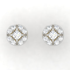 diamond studded gold jewellery - Kyli Studs and Tops Earrings - Pristine Fire - 2