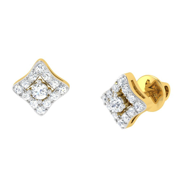 diamond studded gold jewellery - Kyra Studs and Tops Earrings - Pristine Fire - 1
