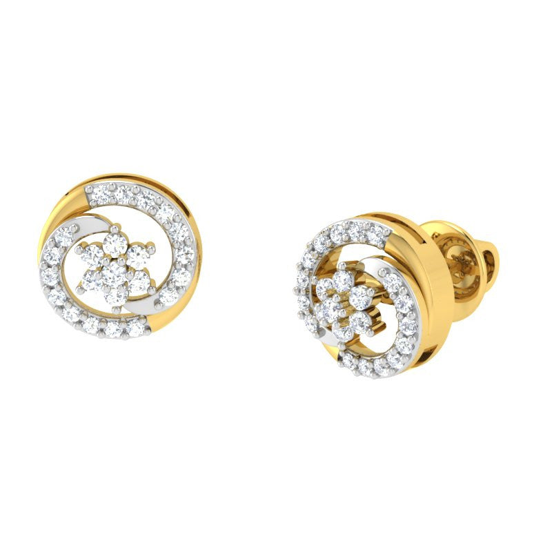 diamond studded gold jewellery - Lacy Studs and Tops Earrings - Pristine Fire - 1