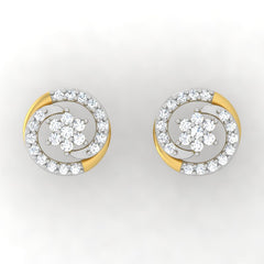 diamond studded gold jewellery - Lacy Studs and Tops Earrings - Pristine Fire - 2