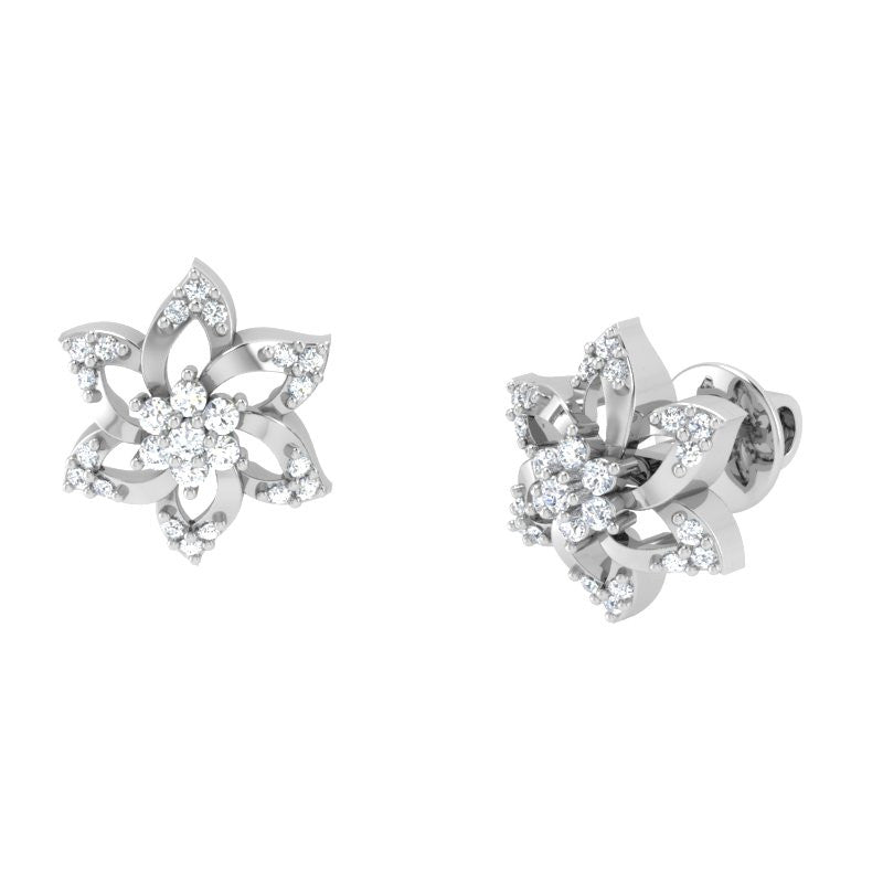 diamond studded gold jewellery - Lana Studs and Tops Earrings - Pristine Fire - 1