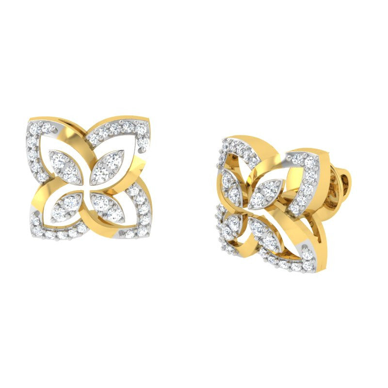 diamond studded gold jewellery - Lara Studs and Tops Earrings - Pristine Fire - 1