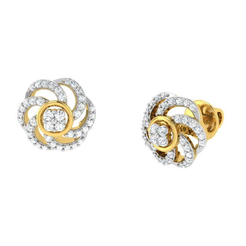 diamond studded gold jewellery - Leah Studs and Tops Earrings - Pristine Fire - 1