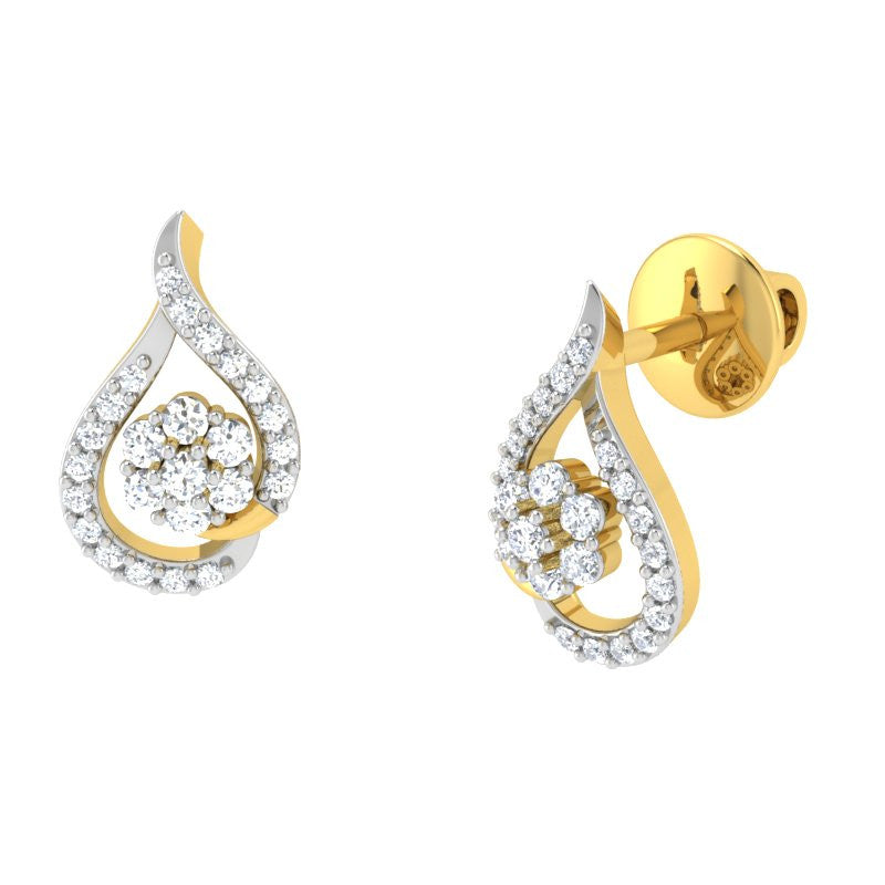 diamond studded gold jewellery - Lela Studs and Tops Earrings - Pristine Fire - 1