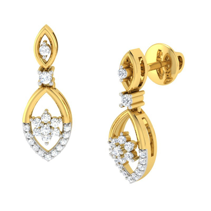 diamond studded gold jewellery - Lena Drops and Danglers Earrings - Pristine Fire - 1