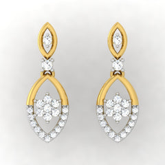 diamond studded gold jewellery - Lena Drops and Danglers Earrings - Pristine Fire - 2
