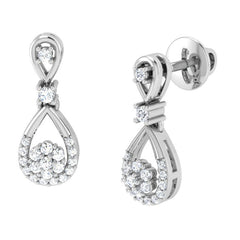 diamond studded gold jewellery - Lexi Drops and Danglers Earrings - Pristine Fire - 1