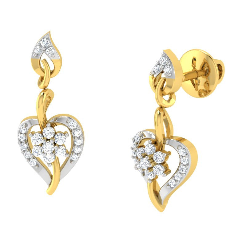 diamond studded gold jewellery - Lida Drops and Danglers Earrings - Pristine Fire - 1