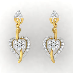 diamond studded gold jewellery - Lida Drops and Danglers Earrings - Pristine Fire - 2