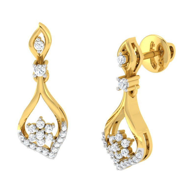 diamond studded gold jewellery - Lila Drops and Danglers Earrings - Pristine Fire - 1