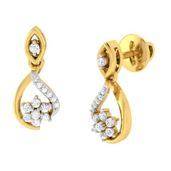 diamond studded gold jewellery - Lily Drops and Danglers Earrings - Pristine Fire - 1