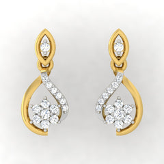 diamond studded gold jewellery - Lily Drops and Danglers Earrings - Pristine Fire - 2