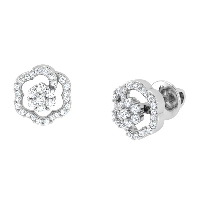 diamond studded gold jewellery - Lisa Studs and Tops Earrings - Pristine Fire - 1